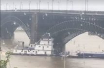 The wheelhouse of the towboat Legacy was crushed in an allision with the Eads Bridge at St. Louis, Mo., May 2, 2019. Video image by Albert M. Garcia via Facebook