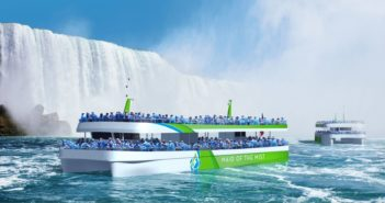 The Maid of the Mist Corp. is building two all-electric vessels for its Niagara Falls tours. Maid of the Mist rendering