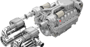 12-cylinder engines for IMO Tier III featuring the modular exhaust gas aftertreatment system and spanning a power range from 551 kW (738 hp) to 1,213 kW (1,625 hp). Man Engines image