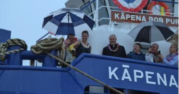Ship's Sponsor Julia MacDonald christens the Kāpena Bob Purdy at a ceremony held at Conrad Amelia. Conrad Shipyard photo