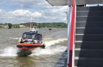 A Coast Guard team alongside the sternwheeler Valley Gem during an underway active shooter exercise May 20, 2019. Coast Guarrd photo/ PO3 Alexandria Preston