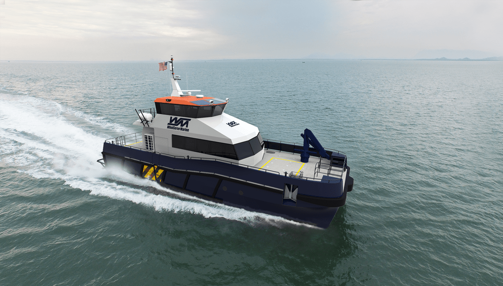 Two crew transfer boats will be built for offshore wind developer Ørsted. Ørsted rendering