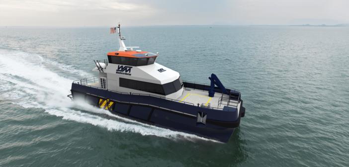 Two crew transfer boats will be built for offshore wind developer Ørsted. Ørsted rendering