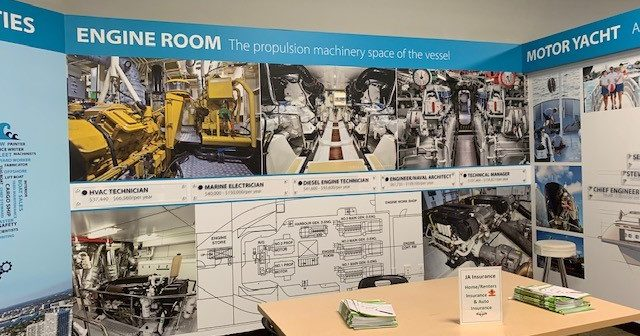 An engine room display at the new marine industry storefront in the Junior Achievement center in Fort Lauderdale, Fla. Advanced Mechanical Enterprises photo