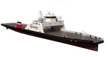 Damen Shipyards will build two more LNG hybrid vessels for Seaspan Ferries. Damen rendering