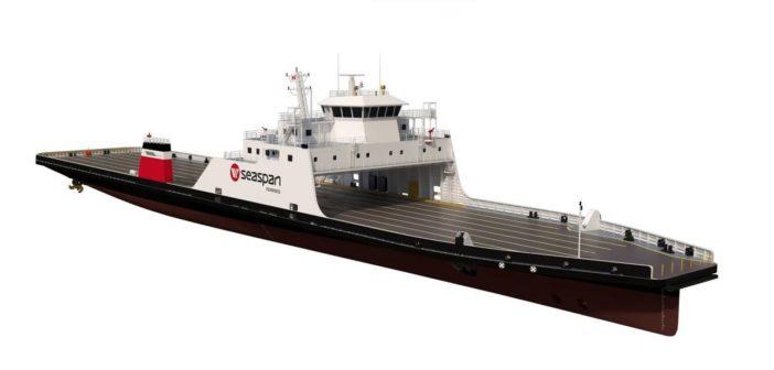 Damen Shipyards will build two more LNG hybrid vessels for Seaspan Ferries. Damen rendering