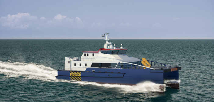 Damen's FCS 3410 is a service accommodations and transfer vessel design for the emerging U.S. offshore wind energy industry. Damen Shipbuilding Group rendering.