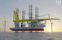 The wind turbine installation vessel Voltaire will have heavy-lift capacility over 3,000 tons to handle the coming generation of bigger offshore turbines. Jan De Nul Group rendering
