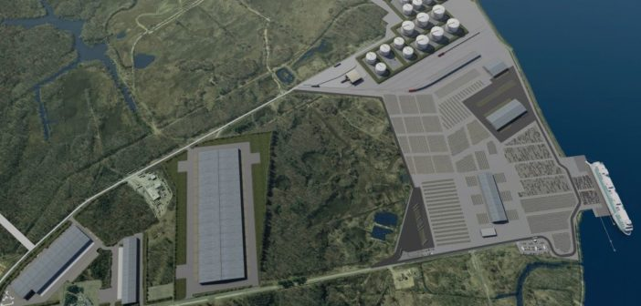 The former DuPont Repauno Works site on the Delaware River could be redeveloped as a deepwater port capable of exporting natural gas liquids. Delaware River Partners rendering