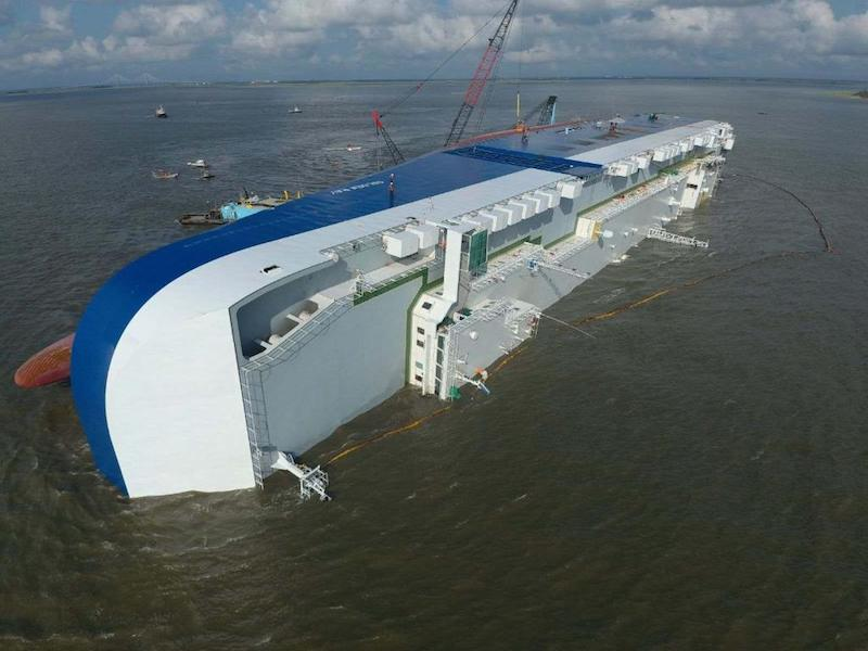 Traffic expanded around capsized Golden Ray in Georgia - WorkBoat