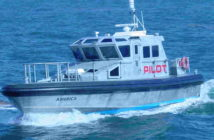 The Sandy Hook Pilots Association typically uses its four America-class pilot boats to make transfers at the Ambrose pilot station. Sandy Hook Pilots photo.