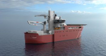 "Vard describes its 215'x55.7' SOV as ""a suitable vessel for small wind parks in harsher environments."" Vard image."