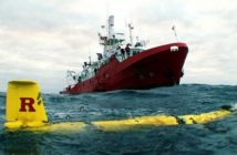 A Rutgers University glider on the surface in the Western Ross Sea of Antarctica, where the technology has been used to study zooplankton and fish distribution. Autonomous Undersea Vehicle Applications Center photo.
