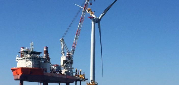 The Block Island Wind Farm under construction in 2016. BOEM's extension of an environmental impact study means the Vineyard Wind project will miss its 2022 target date to start producing power, the company says. Deepwater Wind photo.