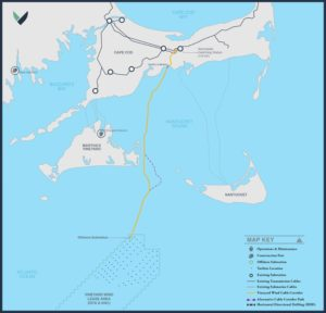 Vineyard Wind if a planned 800-megawatt offshore wind turbine array south of Martha's Vineyard, Mass. Vineyard Wind image.