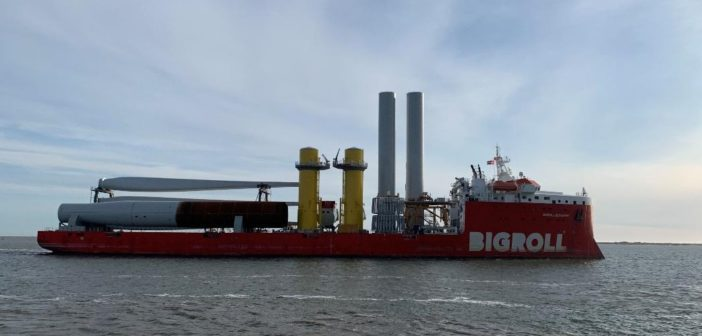 The flat deck carrier vessel Bigroll Beaufort left Denmark in mid-April carrying components for two 6-megawatt wind turbines to be installed off the Virginia coast. Dominion Energy photo.