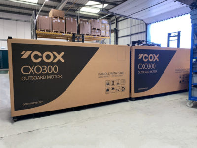 First Cox Powertrain's 300-hp diesel outboards ready for delivery