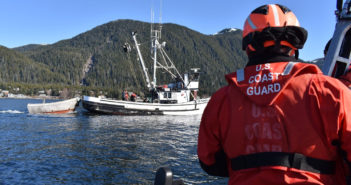 Petty Officer 1st Class Nicolas Santos, a boatswain's mate with the Coast Guard cutter John McCormick, operates the cutter's small boat alongside the fishing vessel Tenisha Rose in Sitka Sound, Alaska, during a commercial fishing vessel safety inspection March 19, 2019 in preparation for the 2019 sac roe herring fishery. Coast Guard photo/Ensign Lindsay Wheeler.