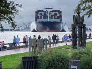 The CMA CGM Brazil coming into the Port of Savannah Sept. 18, 2020. Corps of Engineers Savannah District photo.