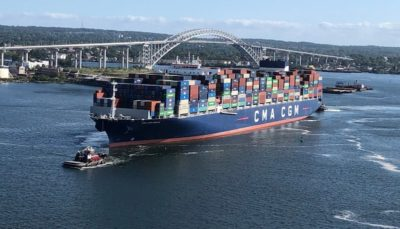 Largest container ship yet calls at East Coast ports