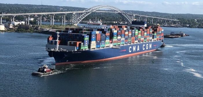 The containership CMA CGM Brazil arrives at the Port of New York and New Jersey Sept. 12, 2020, as the biggest vessel to call at the port. Port Authority of NY/NJ photo.
