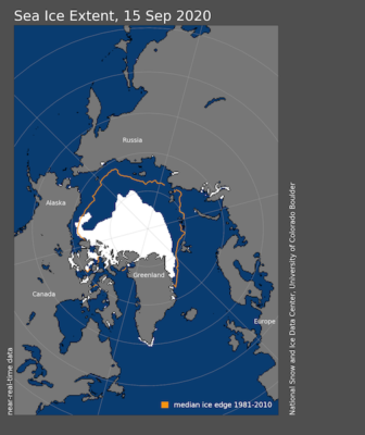 Arctic minimum ice extent second lowest in 42 years
